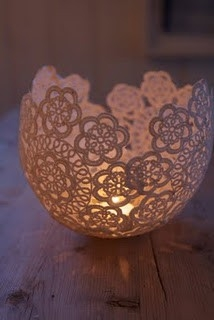 doily candle holder