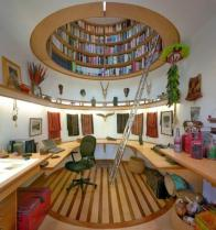Neat bookcase up in ceiling!