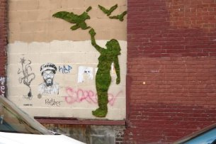 NYC-based, eco-minded guerrilla street artists Edina Tokodi and József Vályi-tóth grow moss and grass to create green creations, giving an earthy feel to urban jungles.