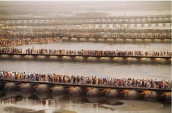 This amazing photo is of crowds waiting to bathe in the Ganges, as part of the Kumbh Mela Festival, a mass Hindu pilgrimage.