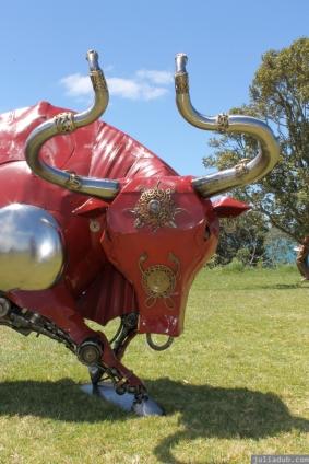 NZ Sculpture OnShore Nov 2012 (82) Marti Wong's 'Swirling Red Bull'