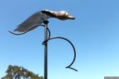 NZ Sculpture OnShore Nov 2012 (97) weather vane 'Watching out for St Francis, Pateke' by Bing Dawe
